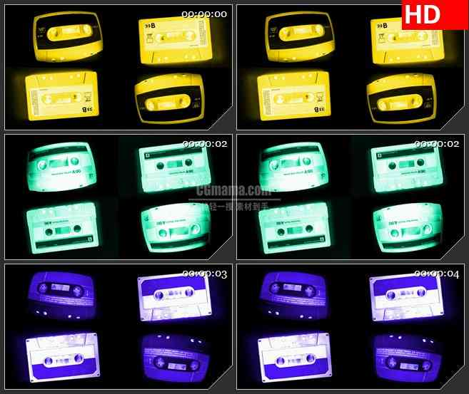 BG3238多色调变换的磁带led大屏背景高清视频素材