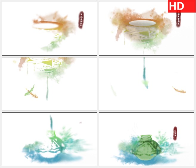 ZY1501中国古代文物高清水墨动画视频素材