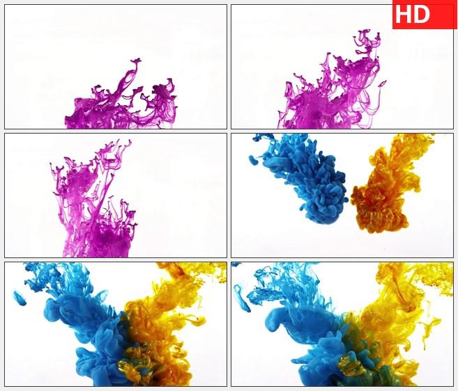 ZY1514紫色水墨粒子旋转蓝色黄色水墨粒子交汇全高清特效视频素材