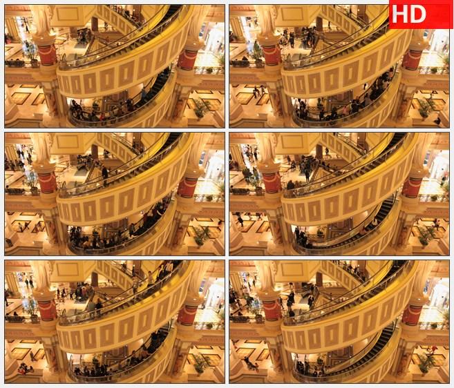 ZY1561大型商场购物超市电梯上的人流高清实拍视频素材高清实拍视频素材