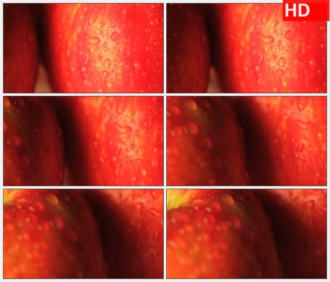 ZY1564带水的苹果特大特写高清实拍视频素材