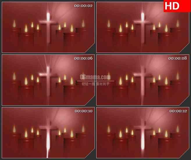 BG3272教堂 十字架 烛光led大屏背景高清视频素材