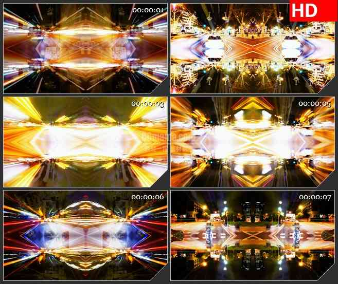 BG3281镜像效果 城市夜景 繁华街道led大屏背景高清视频素材