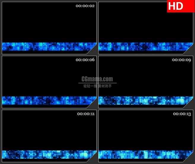 BG3312蓝色荧光像素块栏目条led大屏背景高清视频素材