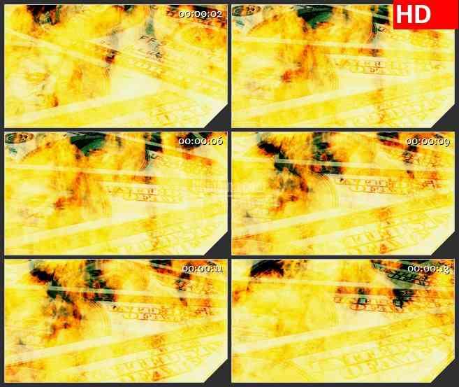 BG3318烈火中的美元纸钞led大屏背景高清视频素材
