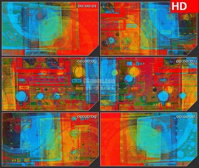 BG3323录音机彩色透视图 嘻哈风led大屏背景高清视频素材