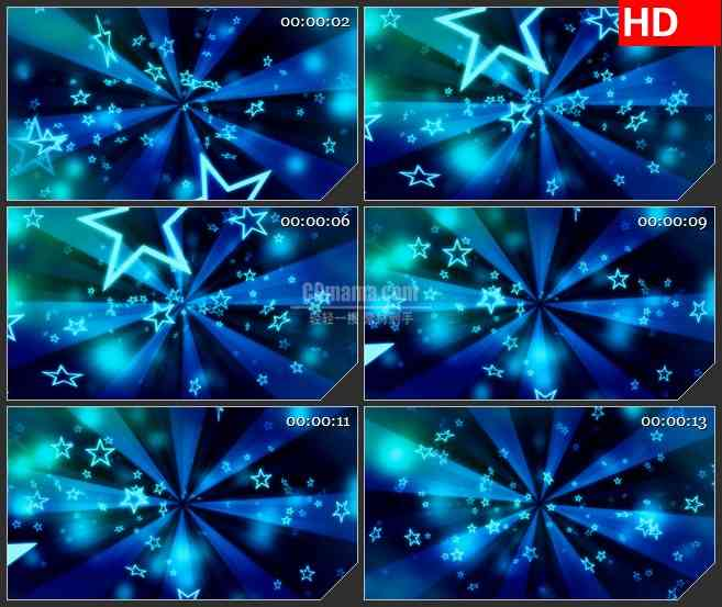BG3324满天繁星 飞舞的蓝色星星led大屏背景高清视频素材