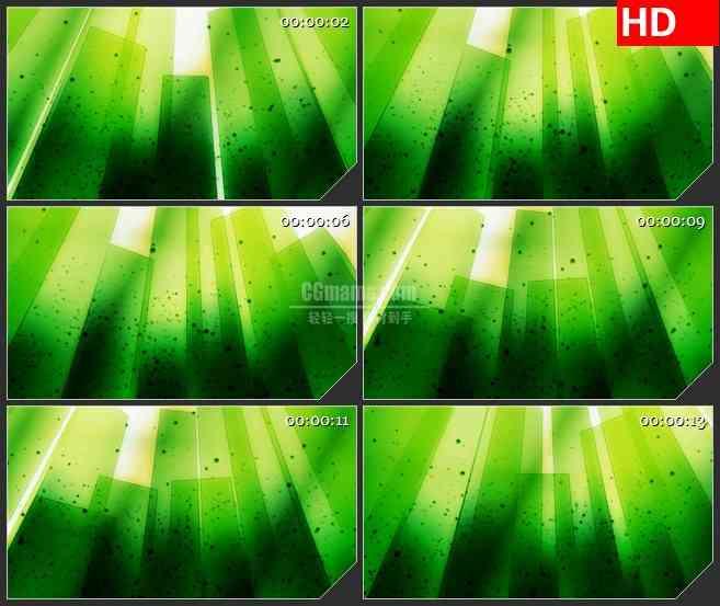BG3335明亮的绿色矩形墙 黑色粒子led大屏背景高清视频素材