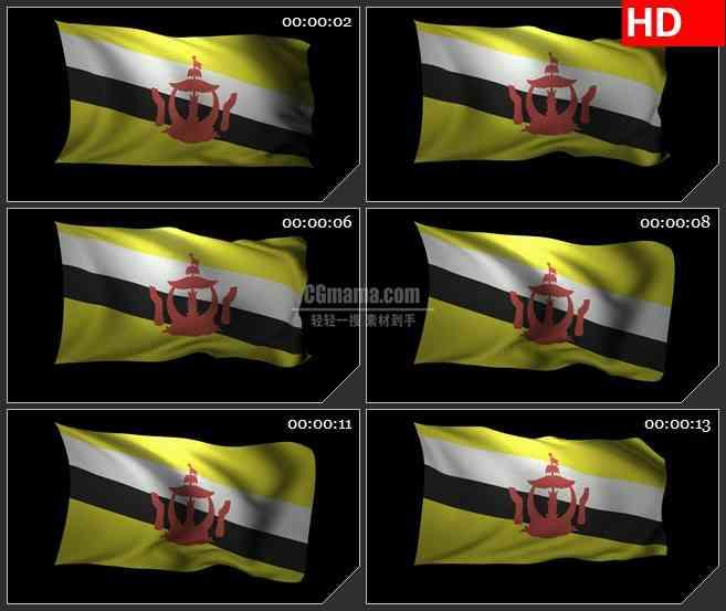 BG3346飘动的文莱国旗 3Dled大屏背景高清视频素材