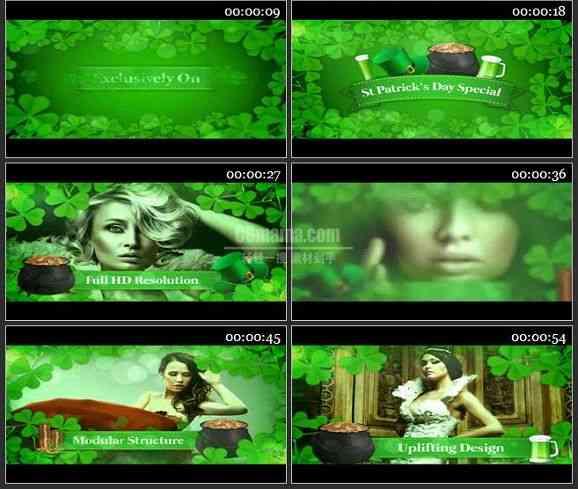 AE2019-绿叶风格商业宣传 文本展示