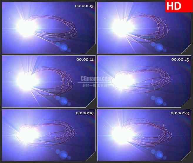 BG3376闪耀的光斑 旋转的荆棘led大屏背景高清视频素材