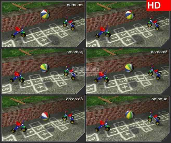 BG3398童趣 儿童小推车 弹跳的彩色皮球led大屏背景高清视频素材
