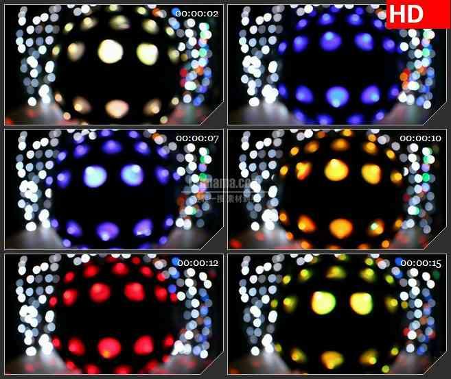 BG3415旋转的迪厅光球led大屏背景高清视频素材