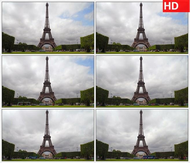 ZY1593广角镜头的埃菲尔铁塔和白云延时摄影高清实拍视频素材