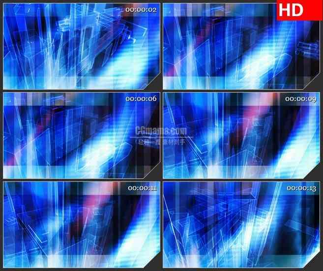 BG3424旋转的蓝色矩形块led大屏背景高清视频素材