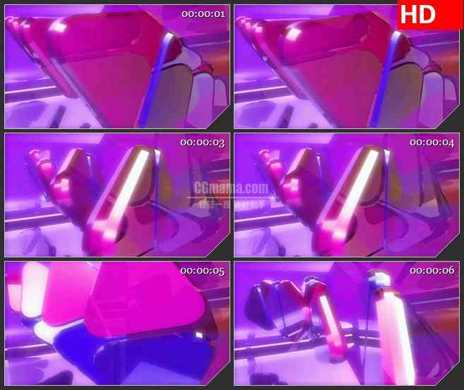 BG3426旋转的蓝紫色三角体 led大屏背景高清视频素材