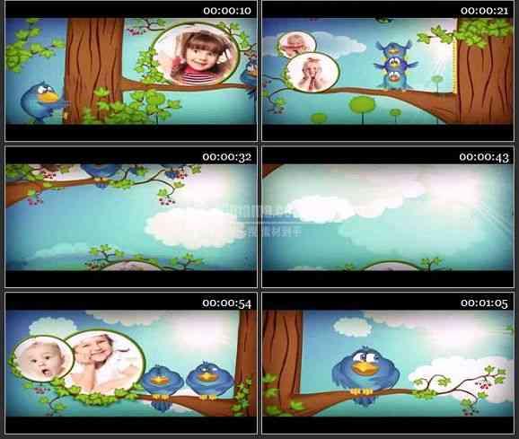 ae2071-有趣的小鸟动画儿童相册模板