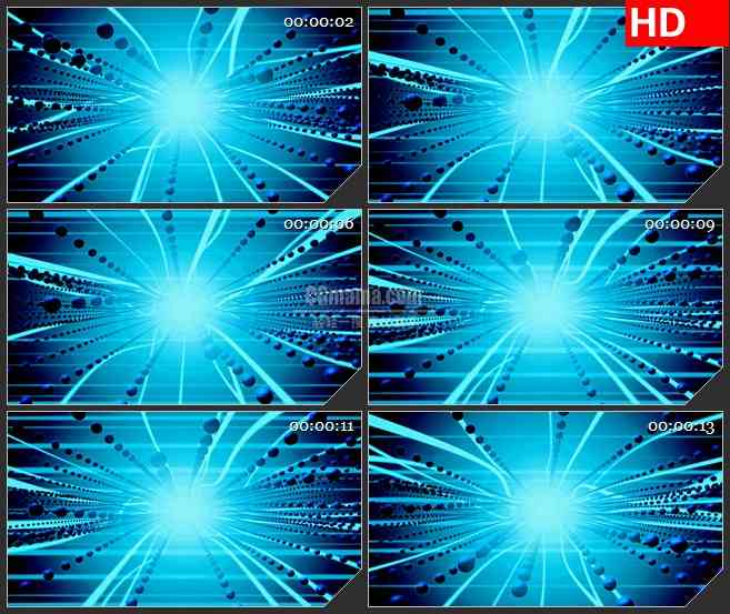 BG3441摇摆的蓝色触须光线 粒子特效led大屏背景高清视频素材