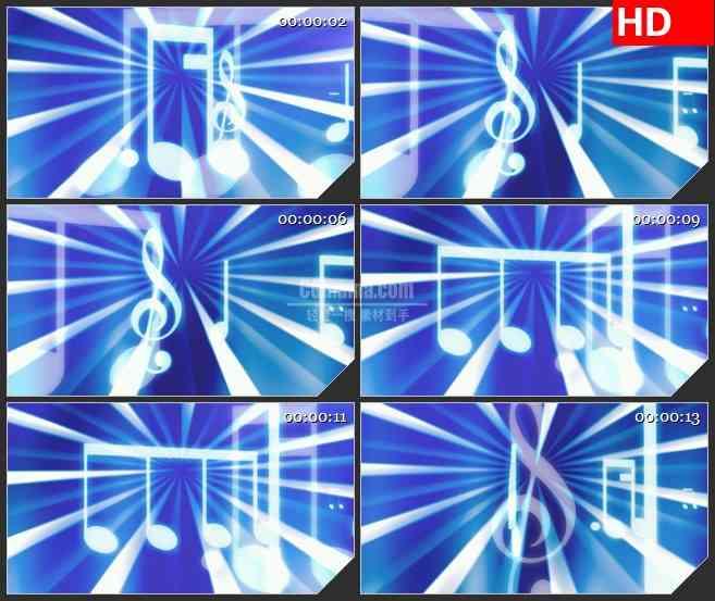 BG3460音乐元素 更替变换的音符led大屏背景高清视频素材