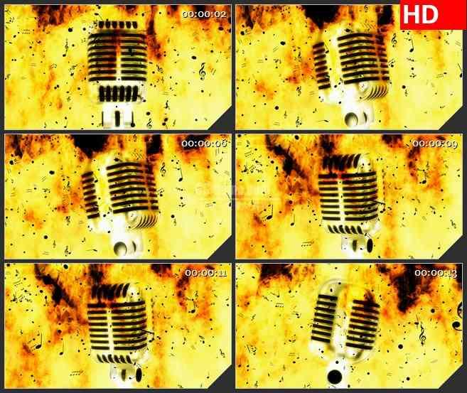 BG3461音乐元素 金话筒 音符 火热现场led大屏背景高清视频素材