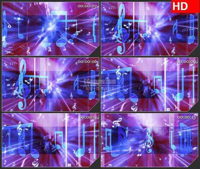BG3463音乐元素 跳动的音符 闪亮的红色光背led大屏背景高清视频素材