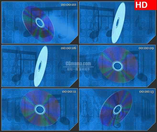 BG3464音乐元素 旋转的光盘 CD盘led大屏背景高清视频素材