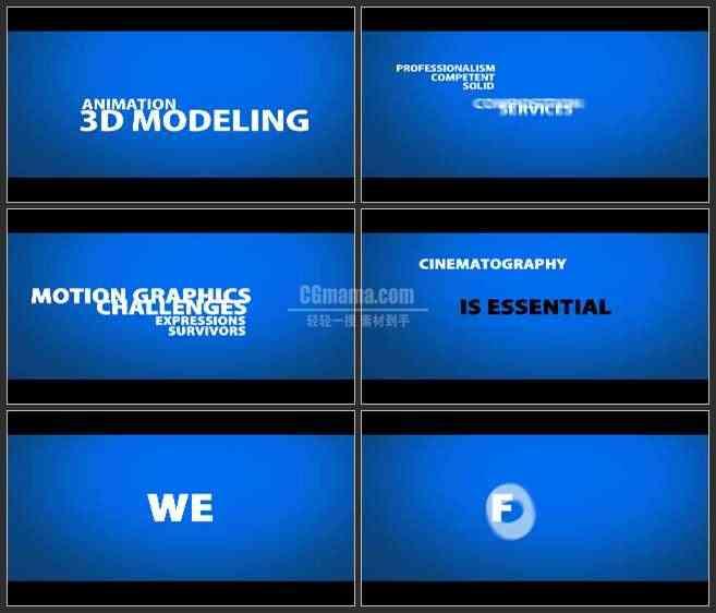 AE3330-蓝色空间 文字编排动画 文本展示 宣传片