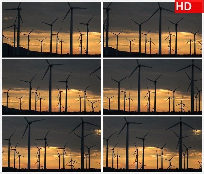 ZY1616黄色夕阳风车风力发电能源高清实拍视频素材