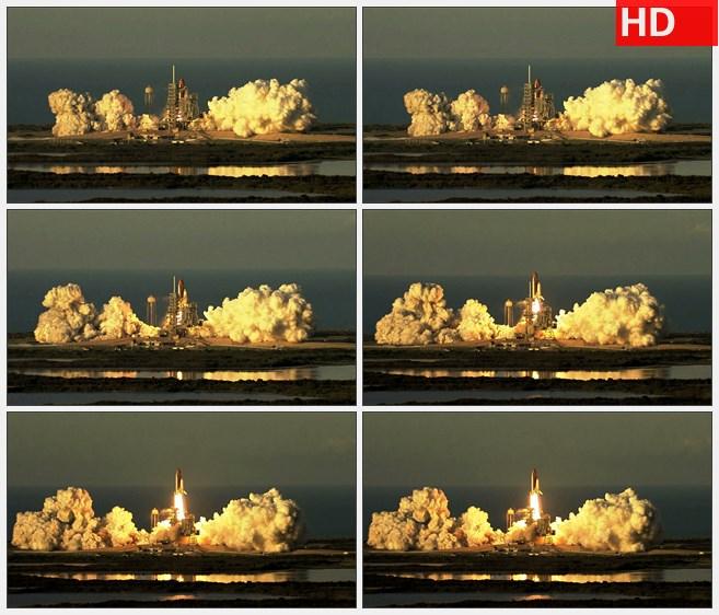 ZY1619火箭发射时的场景远距离摄影高清实拍视频素材
