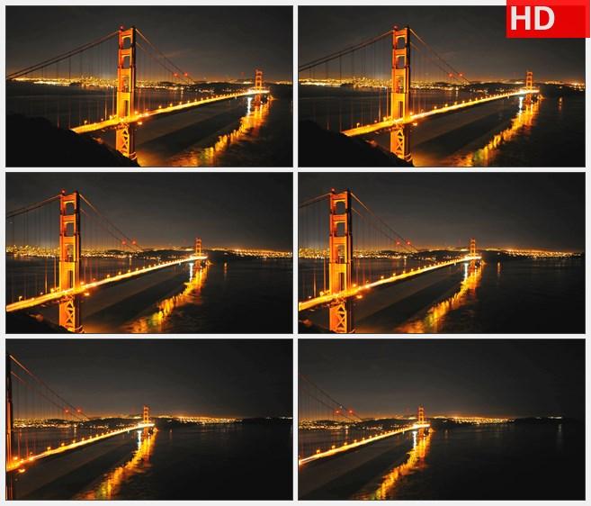 ZY1631金门大桥车流灯光延时夜晚旋转高清实拍视频素材