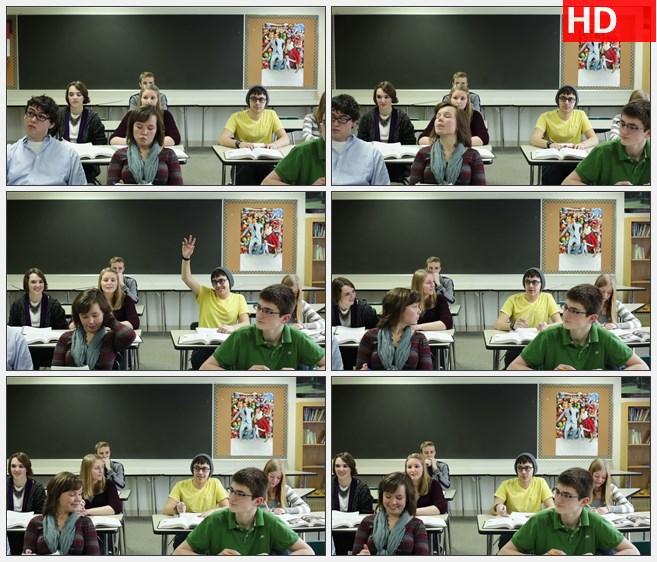 ZY1636课堂上学生回答老师的问题高清实拍视频素材