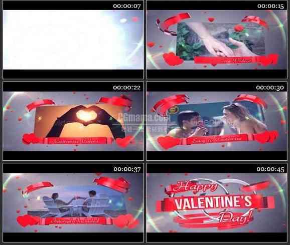 AE2108-心型装饰婚庆视频 相册