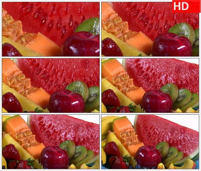 ZY1735什锦果盘水果猕猴桃草莓木瓜西瓜高清实拍视频素材高清实拍视频素材