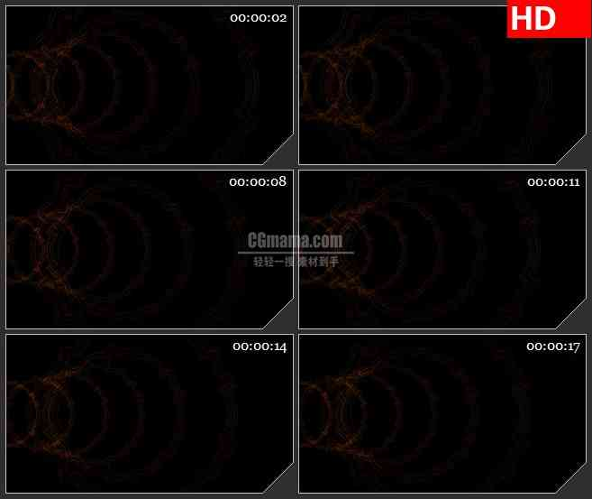 BG3481暗红色水波圆环光环黑色背景带通道led大屏背景高清视频素材