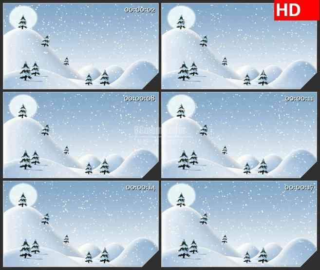 BG3486白色雪山 飞舞雪花卡通动画led大屏背景高清视频素材