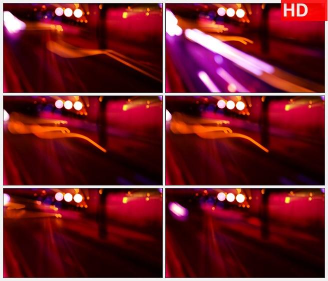ZY1750缩放车灯轨迹粉紫红色高清实拍视频素材