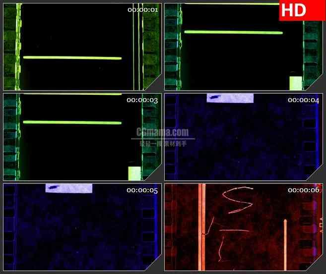 BG3522彩色胶片 电影蒙太奇led大屏背景高清视频素材