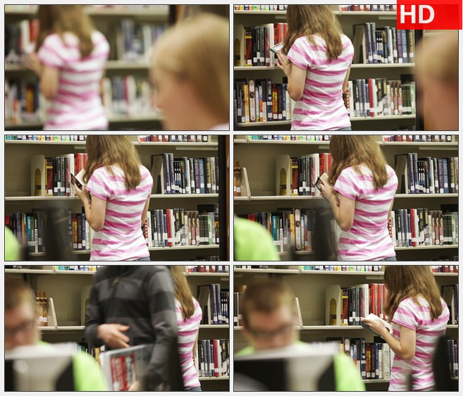 ZY1814专心看书的学生女孩高清实拍视频素材