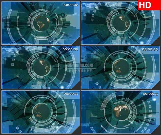 BG3557电视栏目包装 城市与世界三维地球旋转蓝色背景led大屏背景高清视频素材