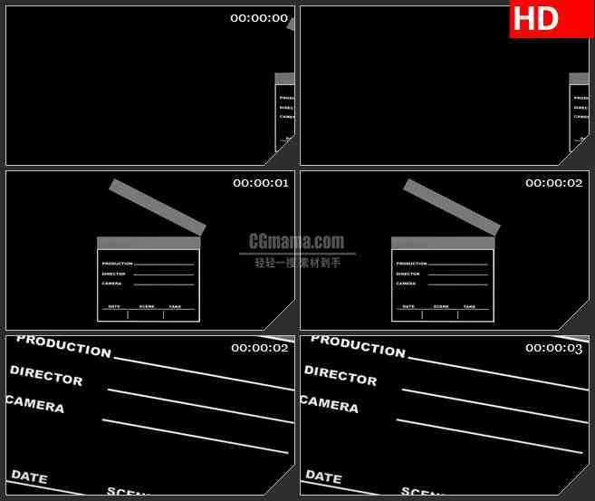 BG3560电影场记板打板黑色背景led大屏背景高清视频素材