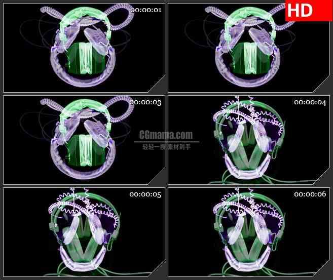 BG3612复古彩色半透明耳机旋转黑色背景led大屏背景高清视频素材
