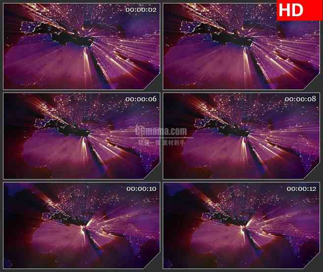 BG3616光芒四射的地图led大屏背景高清视频素材