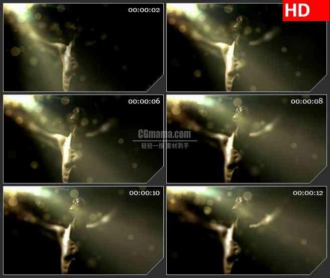 BG3618光线粒子照耀雕像led大屏背景高清视频素材