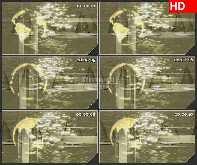 BG3621海面上的巡航船led大屏背景高清视频素材