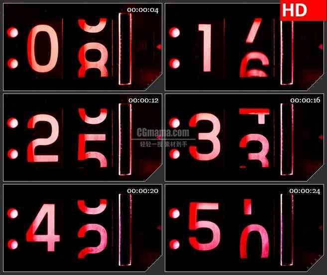 BG3631红色机械计时器led大屏背景高清视频素材