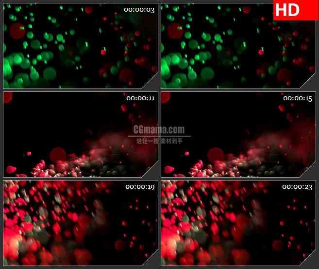 BG3632红色绿色光斑光球交错运动led大屏背景高清视频素材