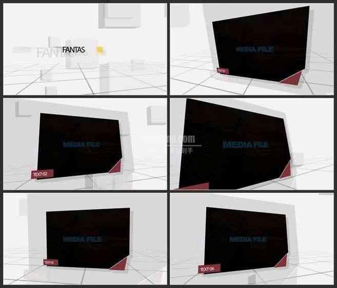 AE3439-纵深的网格空间 图文视频展示 企业宣传推广