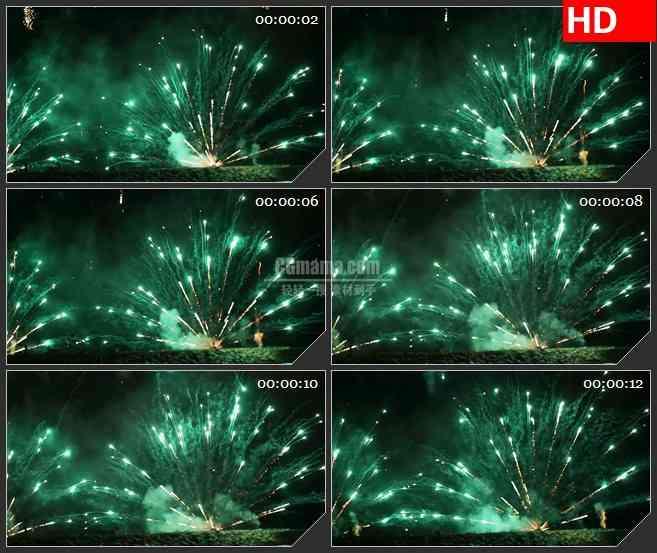 BG3717绿色焰火烟花绽放黑色背景led大屏背景高清视频素材