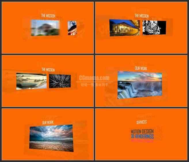 AE3508-橙色背景 晃动的图片 图文展示 宣传片