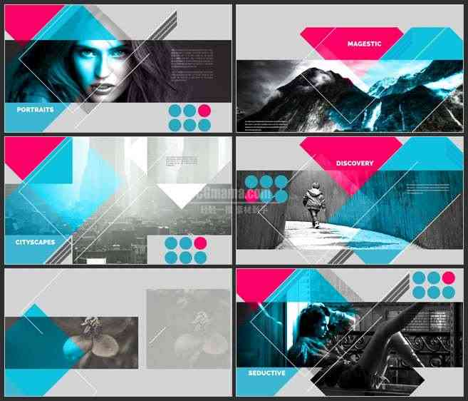 AE3511-彩色抽象拼接 图文展示 宣传片